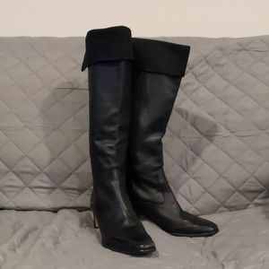 Brighton Black Leather Tower Boots Knee High